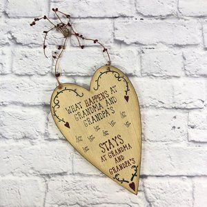 Heart Shaped Wall Plaque for Grandma and Grandpa's